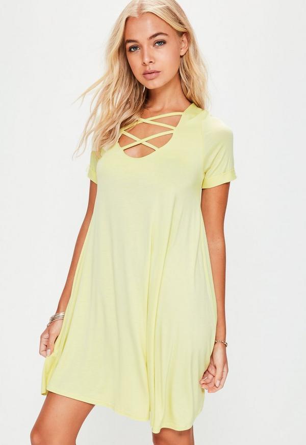 Yellow Lace Up Short Sleeve Swing Dress