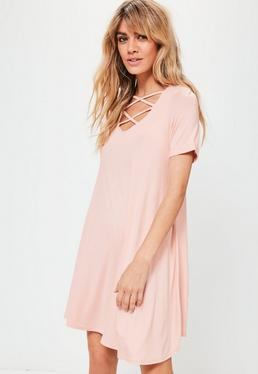 Pink Lace Up Short Sleeve Swing Dress