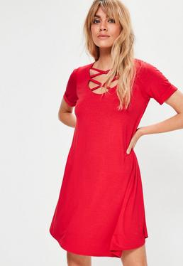 Red Lace Up Short Sleeve Swing Dress