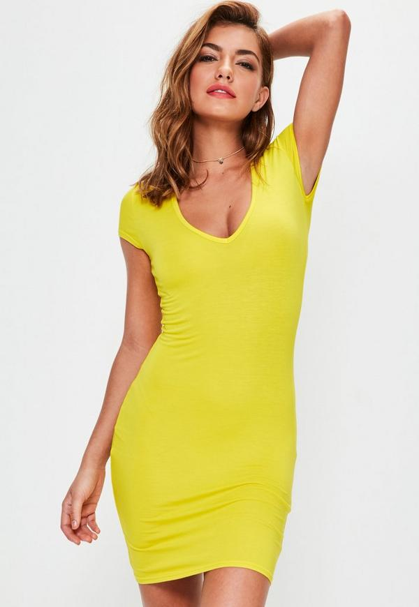 Yellow Cap Sleeve V Neck Bodycon Dress