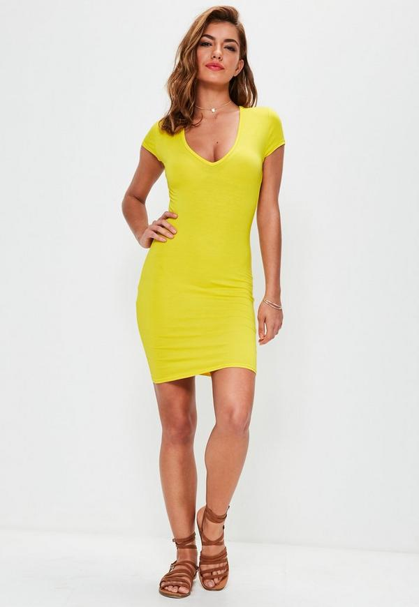 yellow cap sleeve v neck bodycon dress missguided. Black Bedroom Furniture Sets. Home Design Ideas
