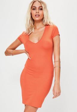 Orange Cap Sleeve V Neck Bodycon Dress