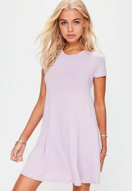 Lilac Cap Sleeve Swing Dress