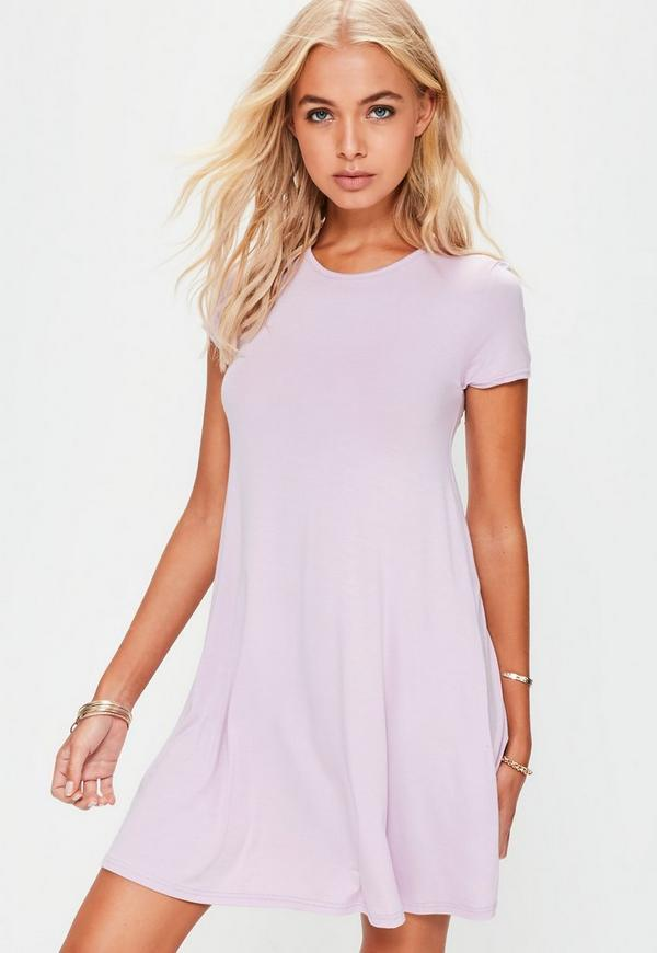 Lilac Cap Sleeve Swing Dress