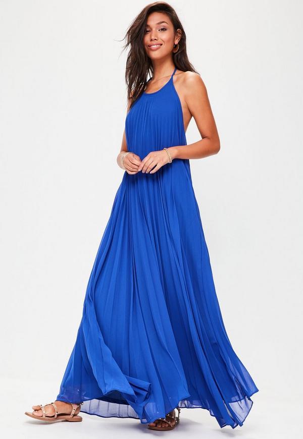Blue Pleated Maxi Dress