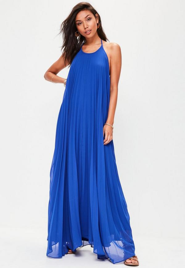 Blue Pleated Maxi Dress | Missguided