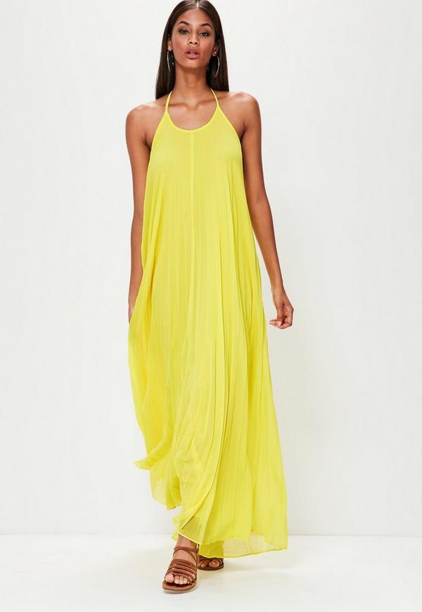Yellow Pleated Maxi Dress
