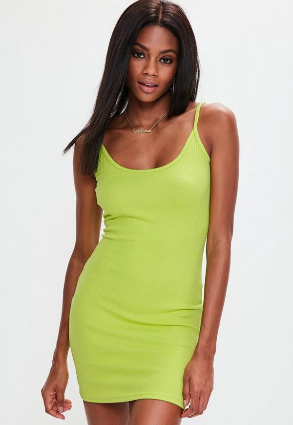 Green Strappy Rib Mini Dress