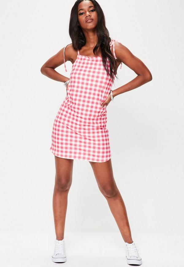 Pink Gingham Jersey Cami Shift Dress