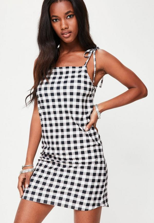 Black Gingham Jersey Cami Shift Dress
