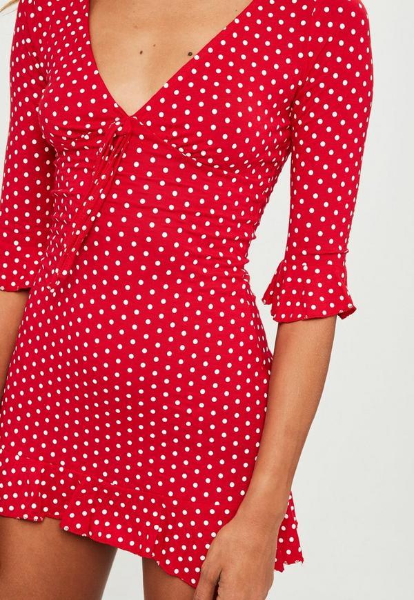 Red Polka Dot Print Frill Tea Dress | Missguided