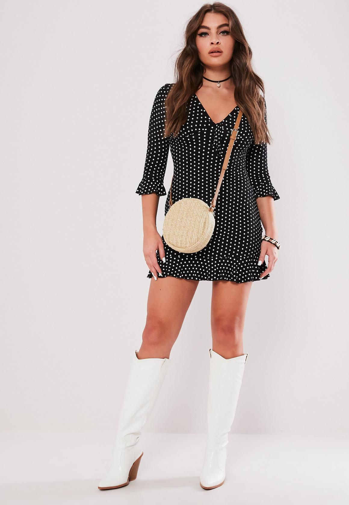 Black Polka Dot Print Frill Tea Dress | Missguided