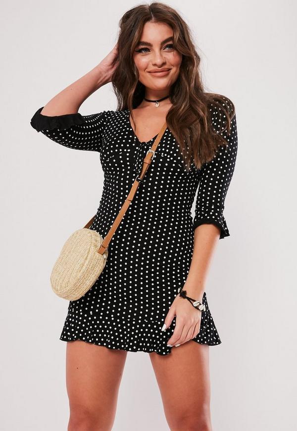 Black Polka Dot Print Frill Tea Dress Missguided