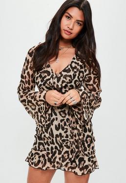 Brown Leopard Print Frill Tea Dress