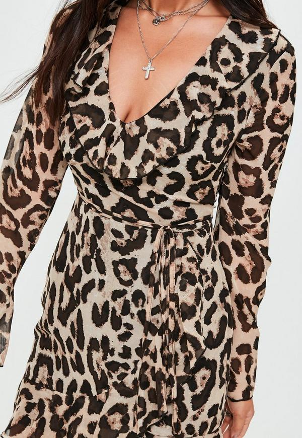Brown leopard print frill tea dress missguided previous next thecheapjerseys Choice Image