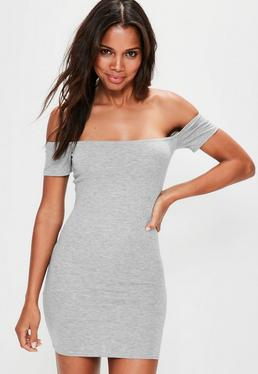 Grey Bardot Short Sleeve Bodycon Mini Dress