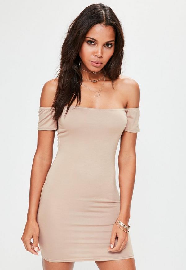 Nude Bardot Short Sleeve Bodycon Mini Dress