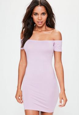 Lilac Bardot Short Sleeve Bodycon Mini Dress