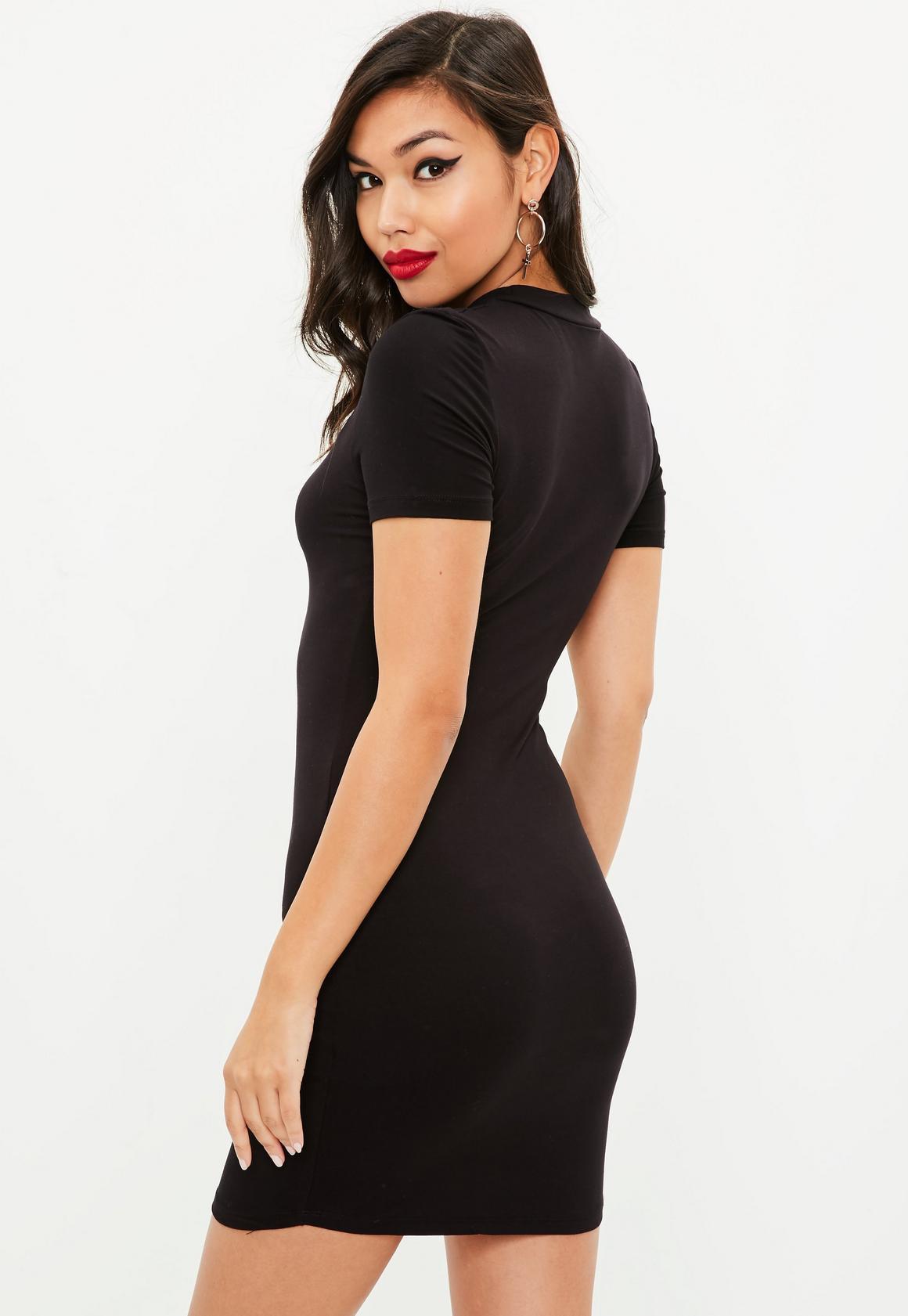 8ab77e53ea3 Missguided Black Short Sleeve High Neck Curve Hem Bodycon Dress ...