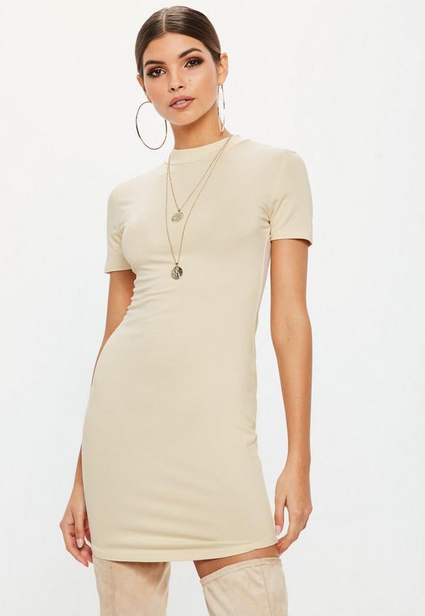 Cream High Neck Bodycon Mini Dress Missguided