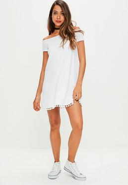 White Bardot Pom Pom Swing Dress