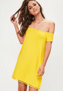 Yellow Bardot Pom Pom Swing Dress