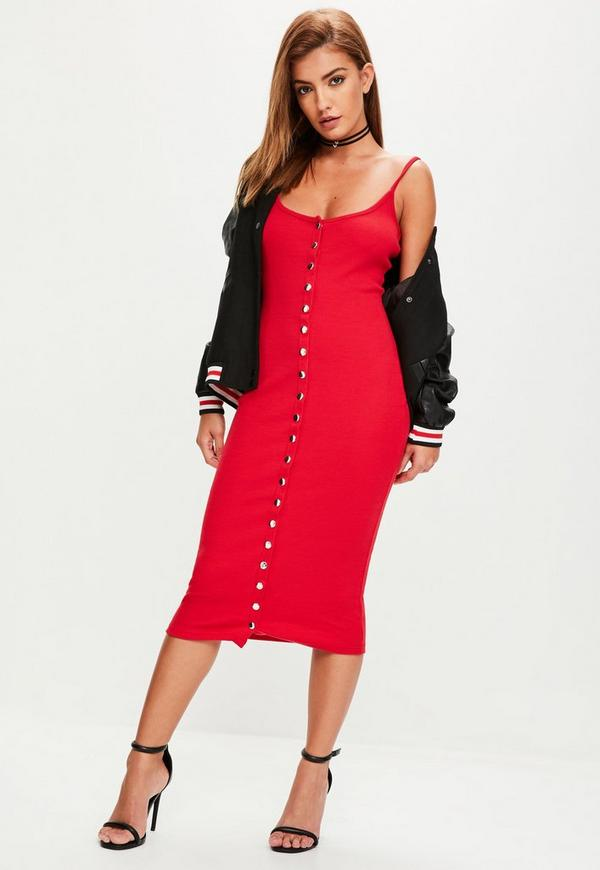 Red Strappy Ribbed Popper Midi Dress