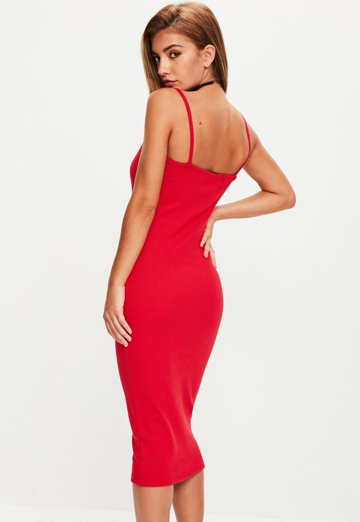 df872faf04 Missguided - Red Strappy Ribbed Popper Midi Dress