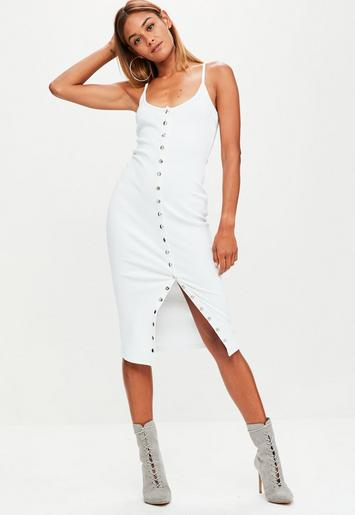 White Strappy Ribbed Popper Midi Dress Missguided