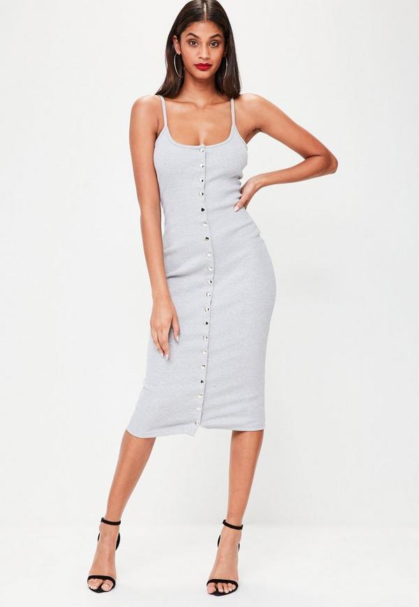 Grey Strappy Ribbed Popper Midi Dress