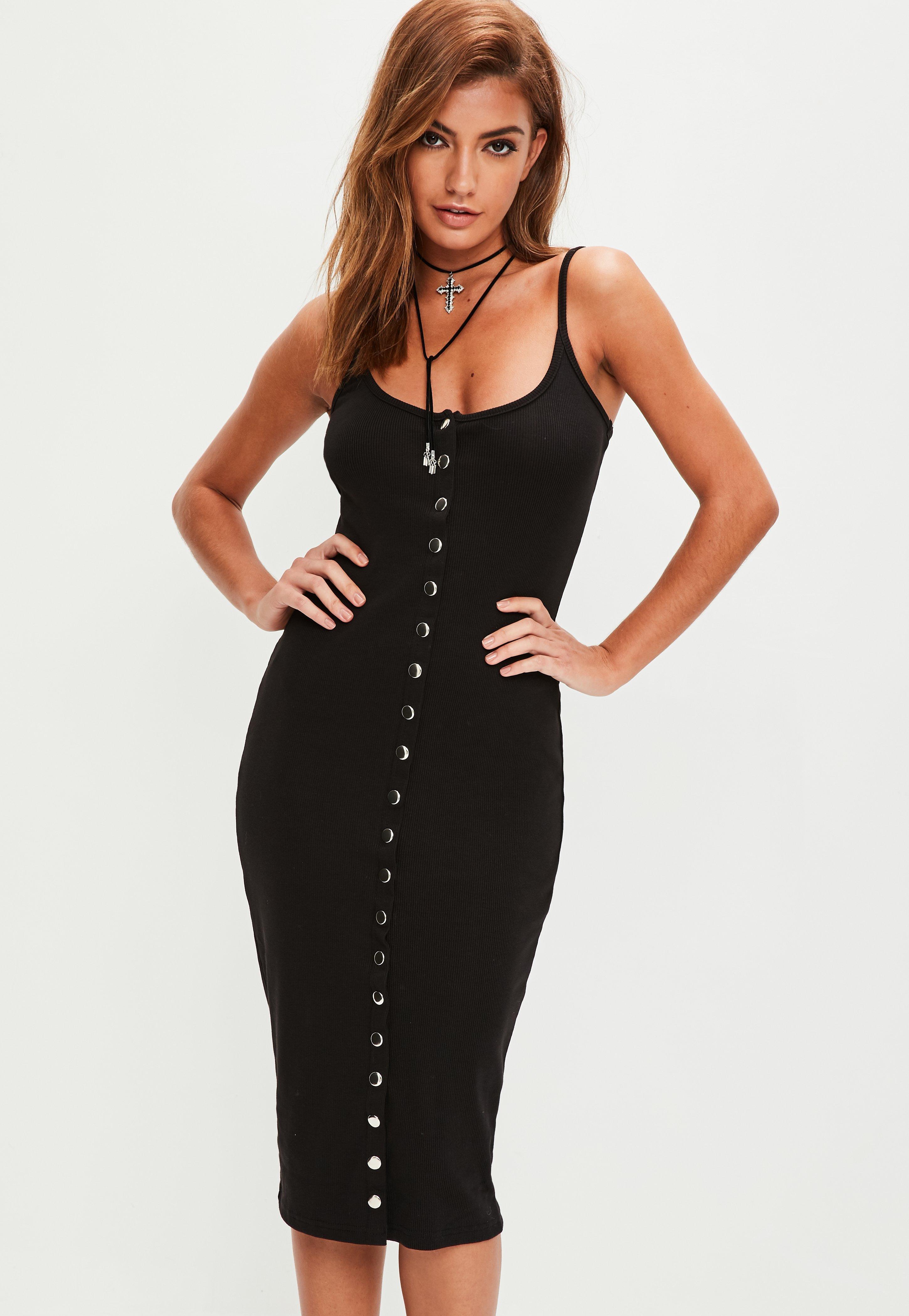 24f0353216 Black Strappy Ribbed Popper Bodycon Midi Dress