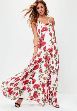 Vestido largo de tirantes con estampado floral en blanco
