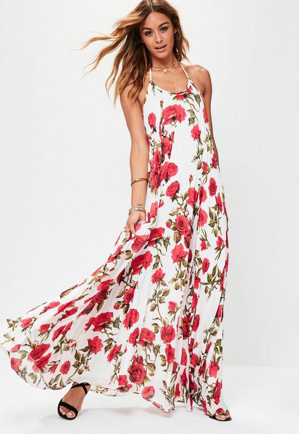 White Floral Print Pleated Maxi Dress