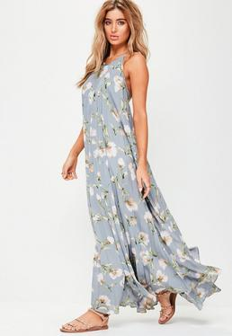 Grey Printed Pleated Maxi Dress