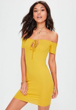 Yellow Bardot Tie Detail Mini Dress