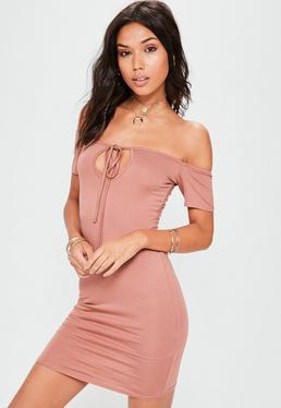 Nude Bardot Tie Detail Mini Dress