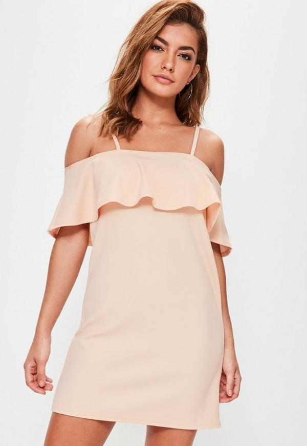Pink Frill Cami Strap Shift Dress