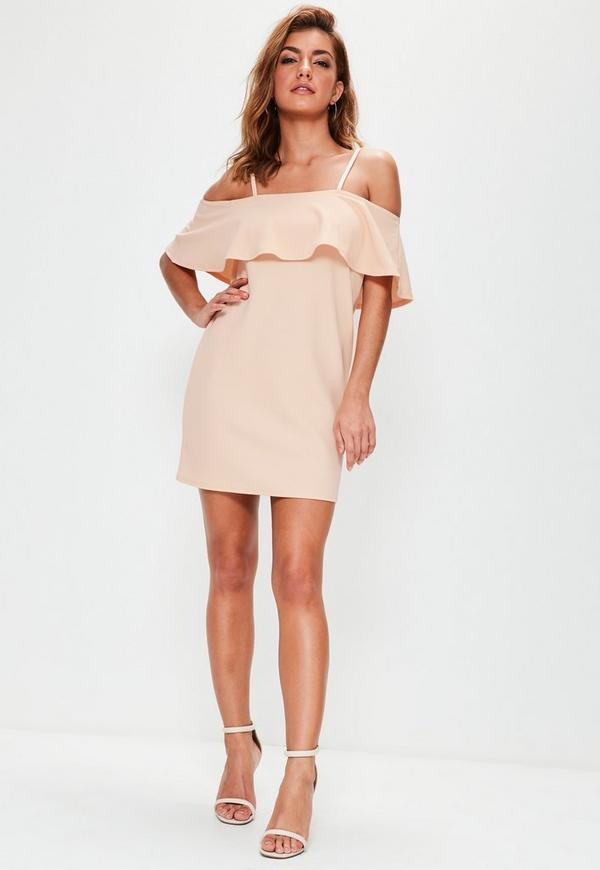 Pink Frill Cami Strap Shift Dress | Missguided