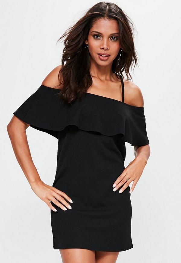Black Frill Cami Strap Shift Dress
