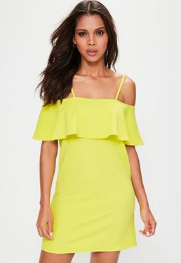 Yellow Frill Cami Strap Shift Dress