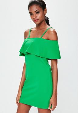 Green Cami Strap Shift Dress