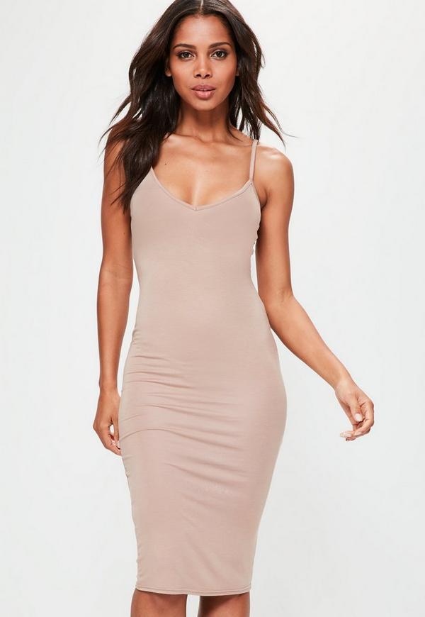 Nude Cami Strap Bodycon V Neck Midi Dress