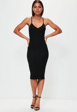 Black Cami Strap Bodycon V Neck Midi Dress