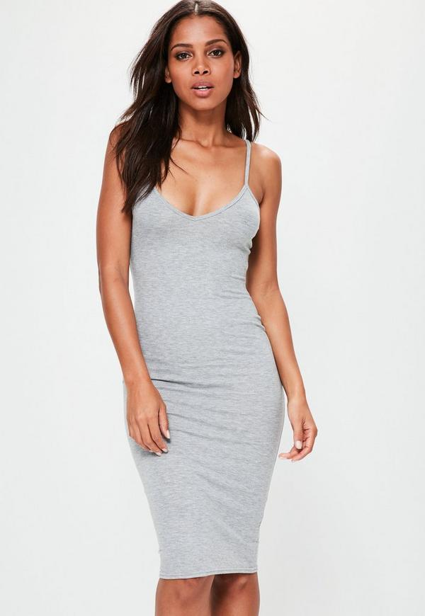 Grey Cami Strap Bodycon V Neck Midi Dress