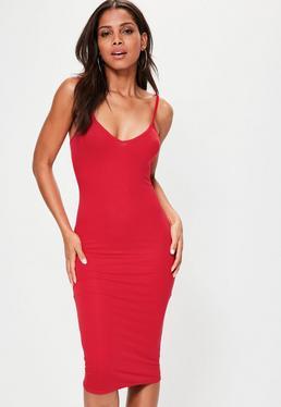 Red Cami Strap Bodycon V Neck Midi Dress