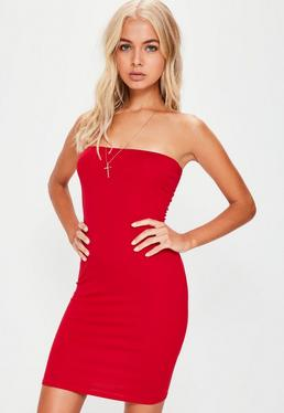 Red Bandeau Bodycon Mini Dress