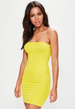 Yellow Bandeau Bodycon Mini Dress