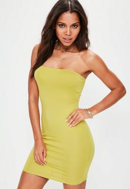 Green Bandeau Bodycon Mini Dress
