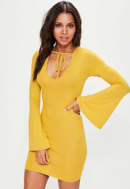 Yellow Flare Sleeve Bodycon Mini Dress
