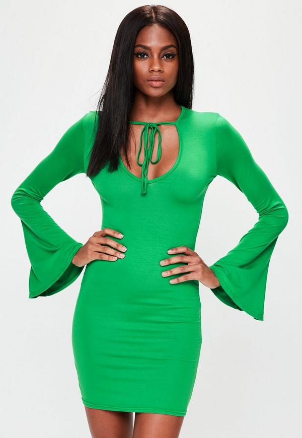 Green Flared Sleeve Bodycon Dress